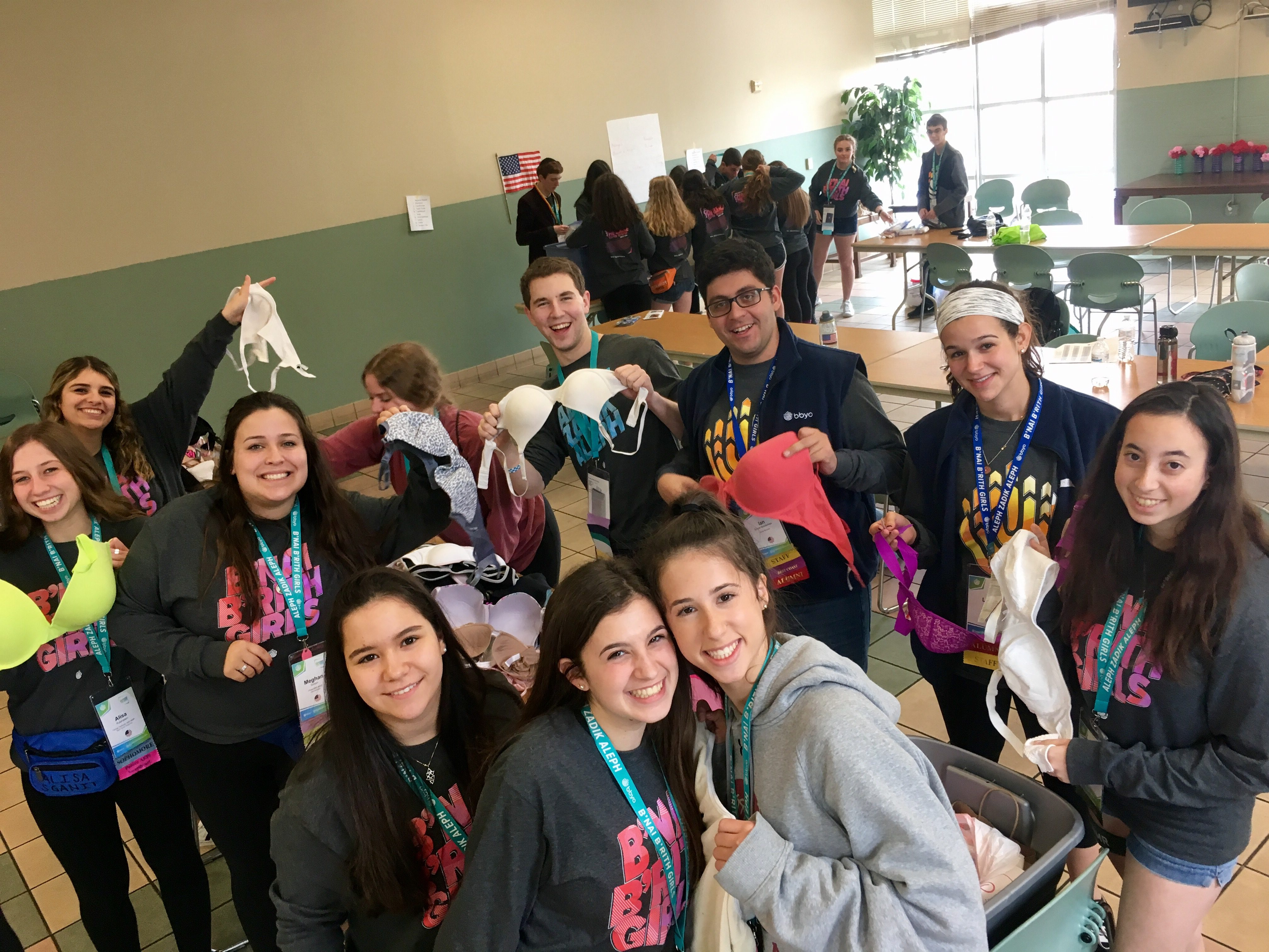 BBYO convention participants sorting donated products