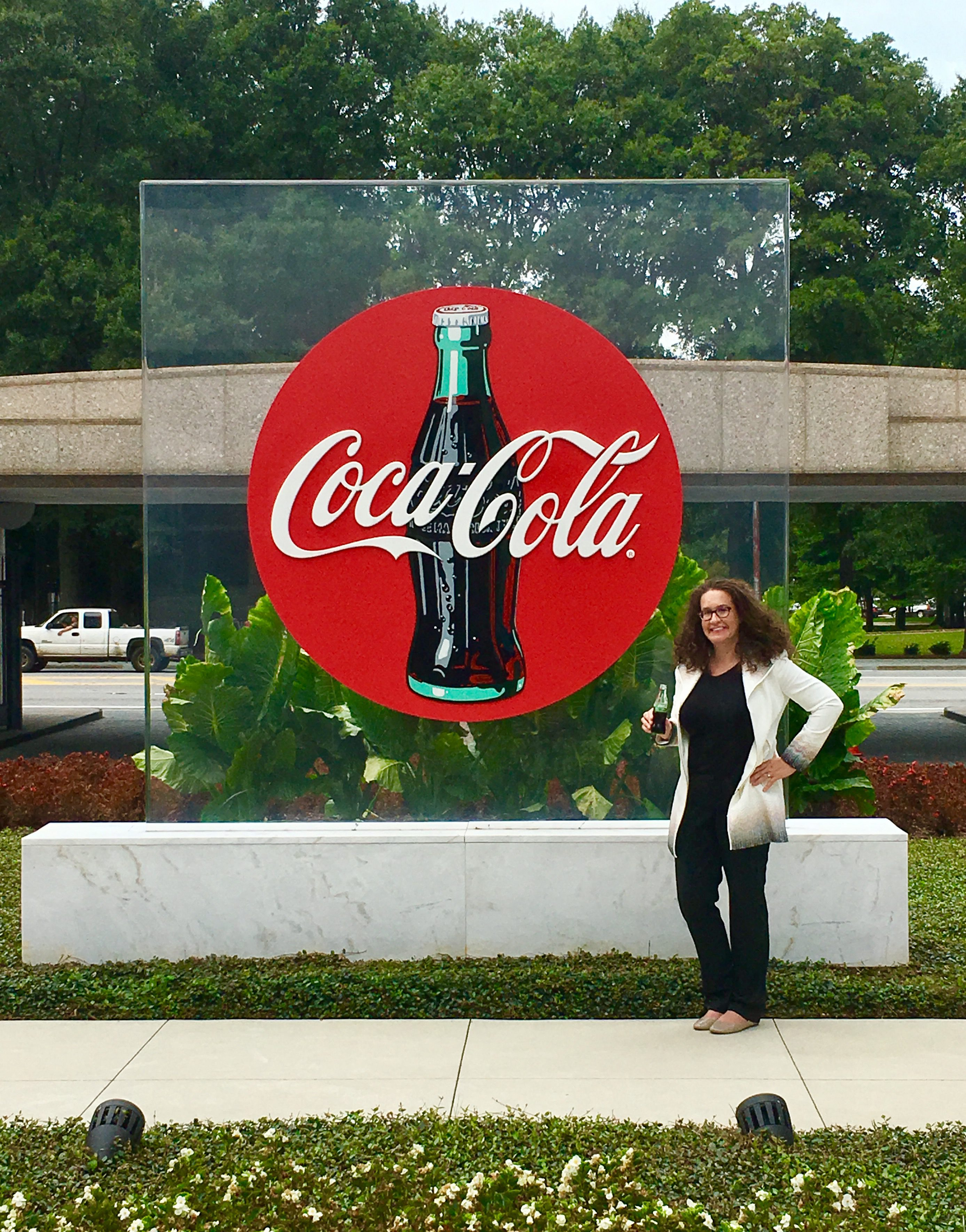 Dana Marlowe visiting Coca Cola HQ for a product collection
