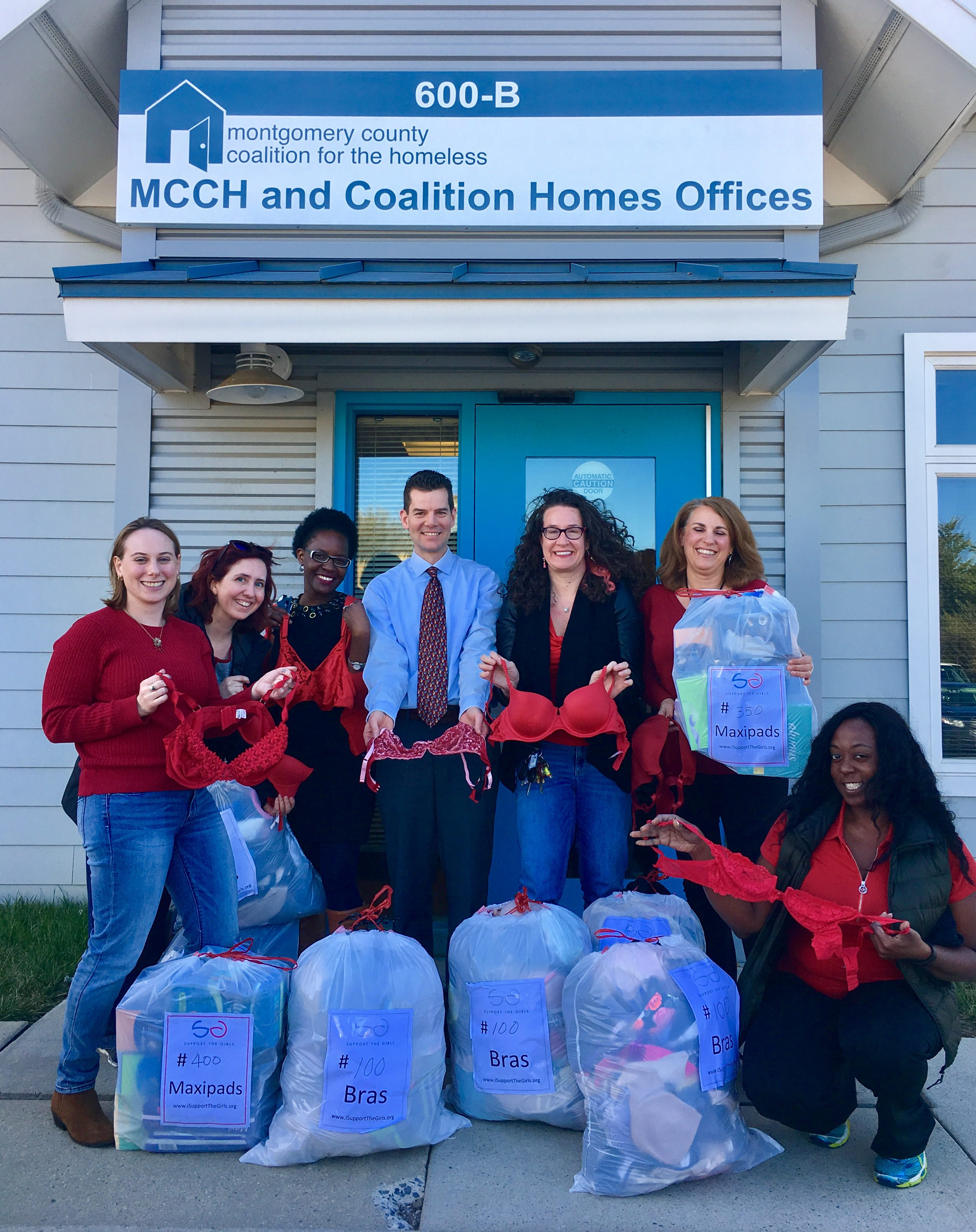 Donations collected by Reuters reporters dropped off at MCCH shelter in Maryland