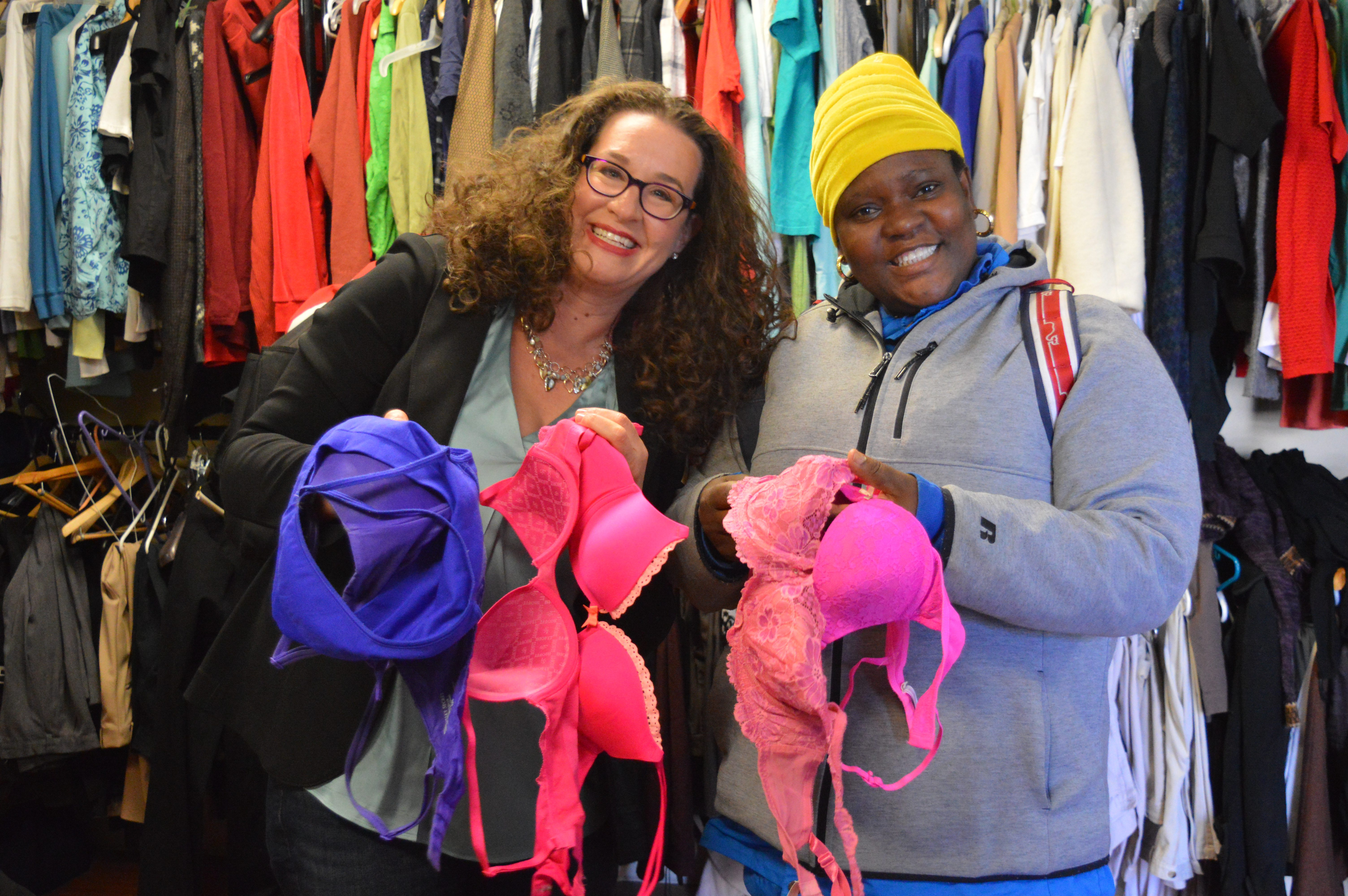 Woman experiencing homelessness in DC receives bras from Dana Marlowe
