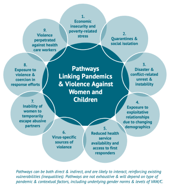 Graphic of Pathways Linking Pandemics & Violence Against Women and Children. 1. Economic Insecurity and poverty related stress, 2. Quarantines and social isolations, 3. Disaster & conflict-related unrest and instability, 4. Exposure to exploitative relationships due to changing demographics, 5. Reduced health service availability and access to first responders, 6. Virus specific sources of violence, 7. Inability of women to temporarily escape abusive partners, 8. Exposure to violence and coercion in response efforts, 9. Violence perpetrated against health care workers