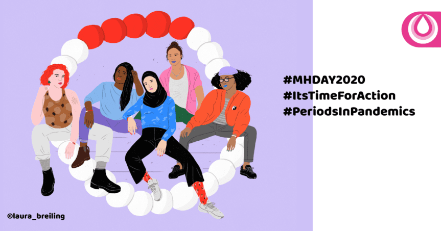 """Purple background with illustration of five diverse women surrounded by a period bracelet. Quote """"#MHDay2020 #ItsTimeforAction #PeriodsinPandemics"""""""
