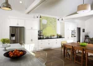 Transitional Kitchen with Modern Artwork